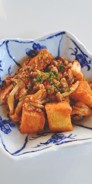 潮豆腐の厚揚げとシメジのケチャップ炒め